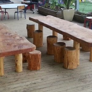 Rustic Macrocarpa kids 1.8m table and log seats - The Spruce Up Company