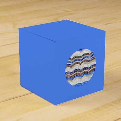 Round Blue Mosaic Classic Favor Box - craft supplies diy custom design supply special