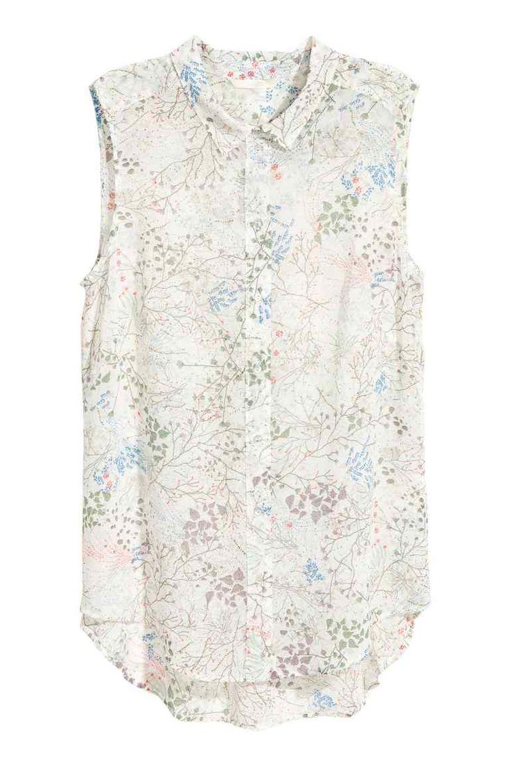 Mouwloze blouse - Gebroken wit/bloemen - DAMES | H&M NL
