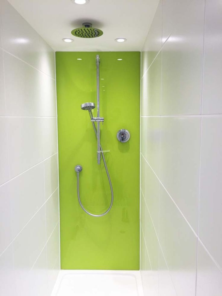 Lime Green Glass Shower Splashback. Our Modern Coloured Glass Bathroom Splashbacks are designed to replace traditional ceramic tiles in your bathroom and make your life a lot easier by saying goodbye to dirty grout lines and mould. Toughened Glass is extremely durable and easy to keep clean. It also provides huge range of colours and designs. #bathroom #modernbathroom #bathroomdesign