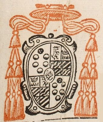 "Stemma di San Carlo Borromeo - Manoscritto ""Insignia nomina cognomina patriae administrationes & tituli S.R.E. cardinalium nunc viventium post obitum Pii 4"". 1566.  http://bibliotecaestense.beniculturali.it/info/img/stp/i-mo-beu-alfa.f.3.17.267.pdf  http://bibliotecaestense.beniculturali.it/info/img/stemmihtml/borromeo.html"