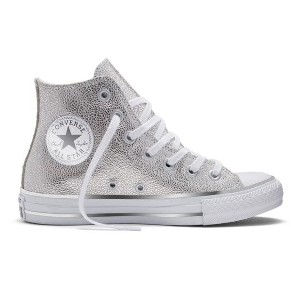 Converse Women's Chuck Taylor All Star Stingray Metallic Hi Athletic ($68) ❤ liked on Polyvore featuring shoes, sneakers, silver, laced up shoes, lace up sneakers, converse shoes, silver shoes and metallic sneakers