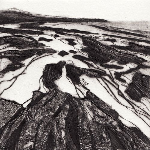 Anita Reynolds, Day 33: Towan Beach, collagraph & drypoint print, 17 x 17cm, edition of 10, Outline South West Daily Prints, South Cornwall, carborundum, drypoint and collagraph