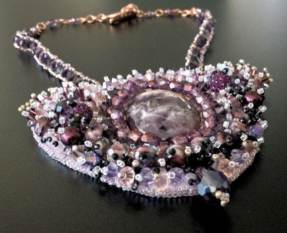 Handmade Beadwork Necklace with Amethyst Cabochon stone by BYTWINS, €250.00