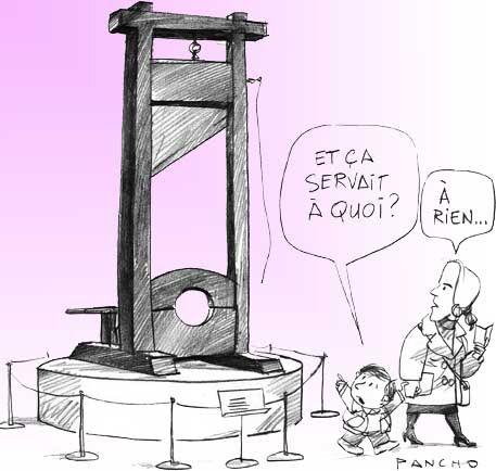 Dessin réalisé en 1991 par PANCHO et adressé à Robert Badinter, à l'occasion du 10ème anniversaire de l'abolition de la peine de mort.