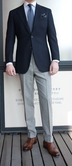 navy sport coat, grey pants