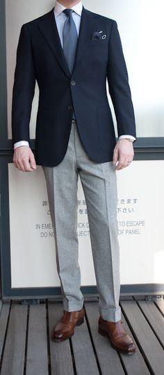 navy sport coat, grey pants