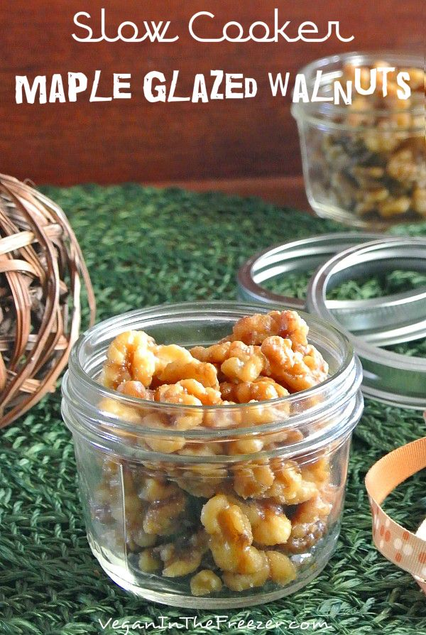 Slow Cooker Maple Glazed Walnuts Pin Word