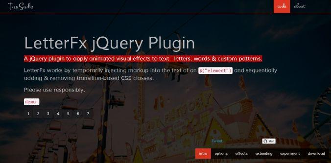 LetterFX jQuery Plugin - O LetterFX é um plugin jQuery utilizado para aplicar animações visuais no texto (palavras, letras). O plugin possui uma série de efeitos para exibição do texto muito úteis para projetos ou cases interativos. Também possui um gerador para criar o efeitos a gosto de acordo com as limitações da ferramenta. #tipografia #webdesign #webdev #typography #tools #plugins