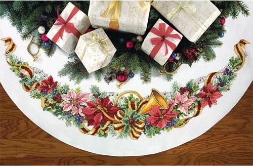 Скатерть Праздничная гармония, юбка под елку. Вышивка / Embroidery. Рождество, Новый год. Kits for embroidery. Набор для вышивки крестом Dimensions. Поделки своими руками, подарок, вышивка крест.