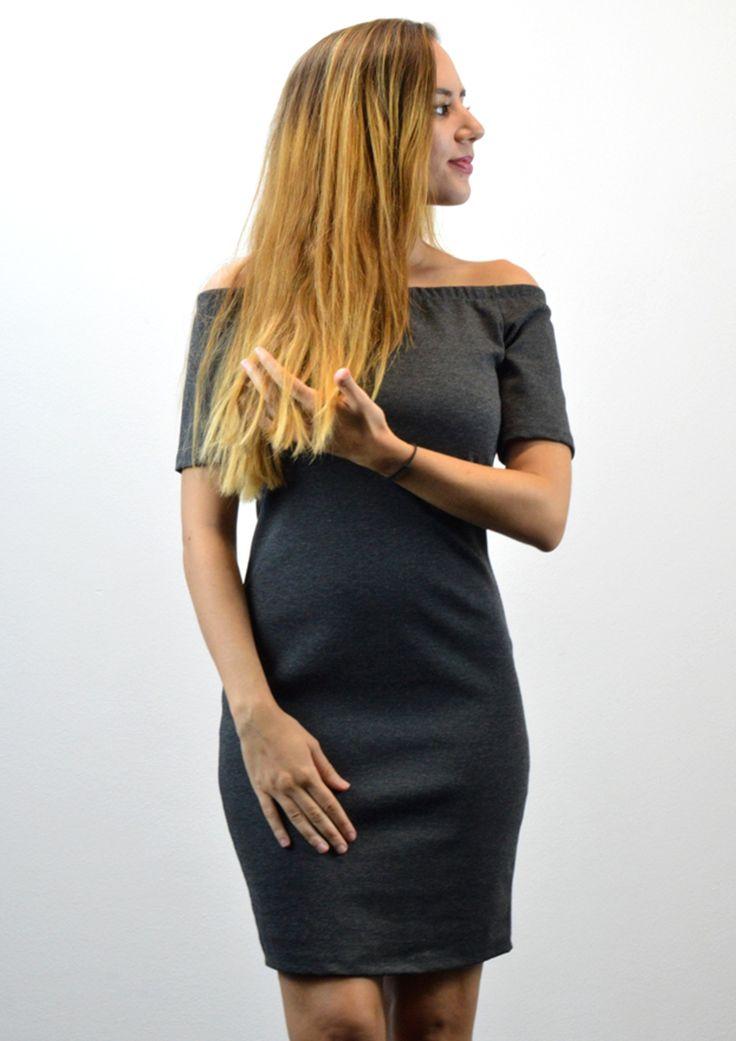 Φόρεμα με Ανοιγμα στους Ώμους - ΣΚΟΥΡΟ ΓΚΡΙ | shop online: www.musitsa.com