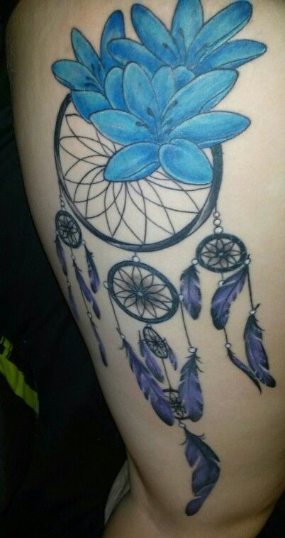 Dreamcatcher tattoo with lilies and soon to be watercolor