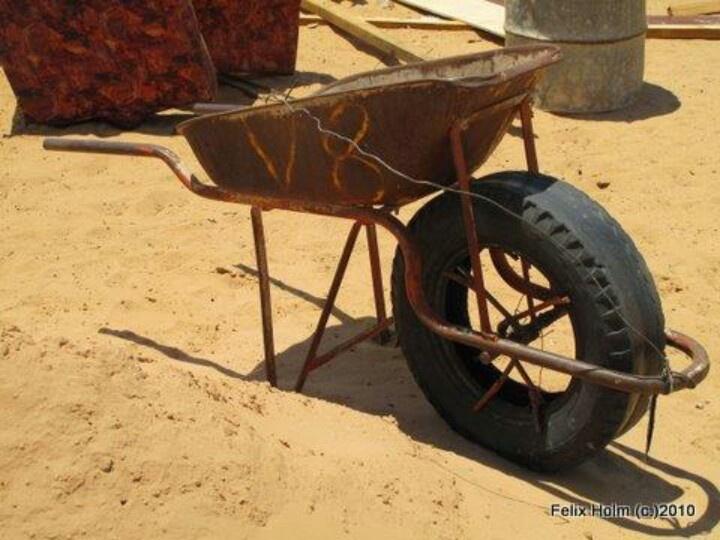 1x2 drive sand modified wheelbarrow Kghalagadi Botswana - genius