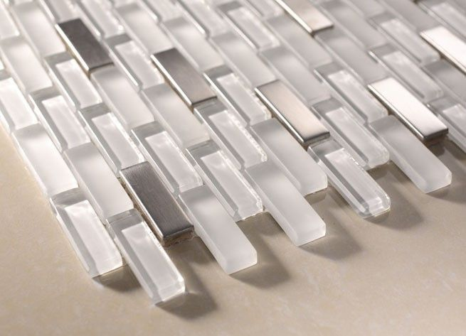 Sicily Snow White Brick Steel U0026 Glass Mosaic 12x12 Tile Backsplash