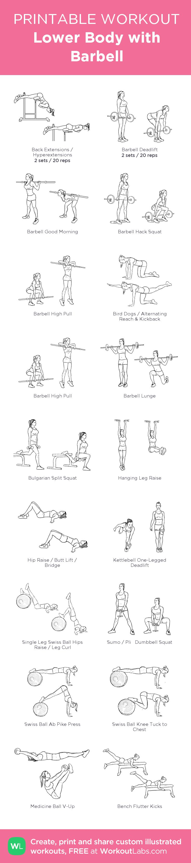 Lower Body with Barbell: my visual workout created at WorkoutLabs.com • Click through to customize and download as a FREE PDF! #customworkout