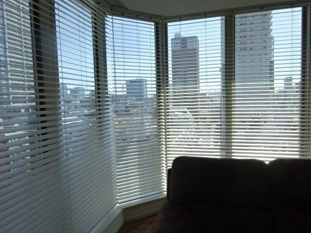 台形窓 コーナー窓 ウッドブラインド 木製ブラインド コーナー
