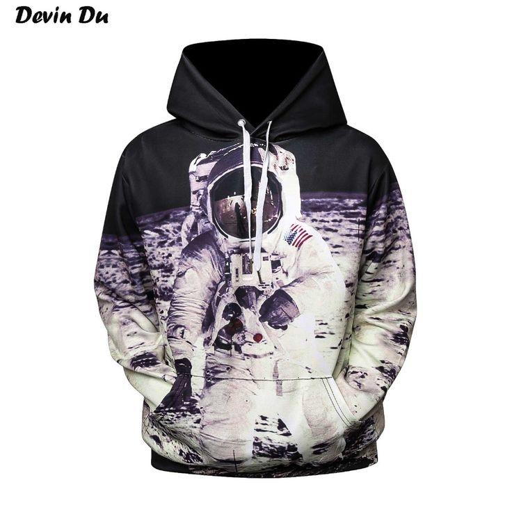 Devin Du 2017 New Fashion Cap Hoodies For Men/Women 3d Sweatshirt Print Astronaut Moon Landing Hooded Hoodies Pullover Hoody