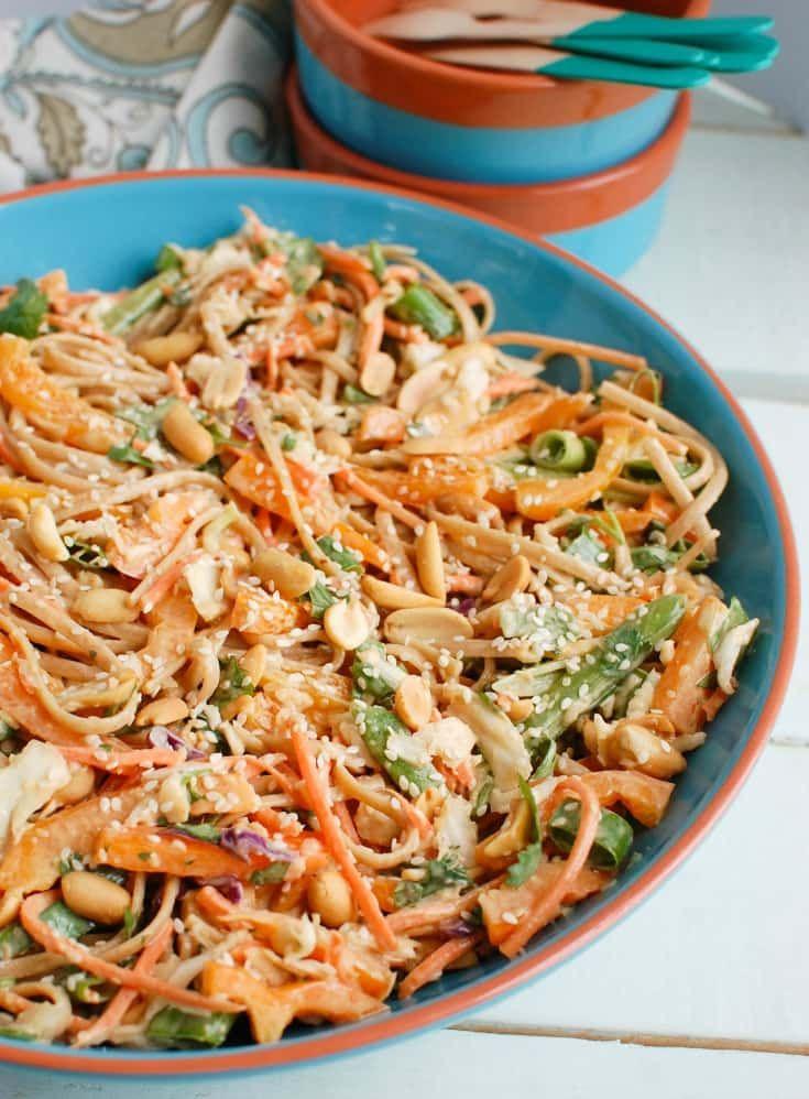 Asian Peanut Noodle Salad Recipe Spicy Peanut Sauce Vegetable Noodles Pasta Salad