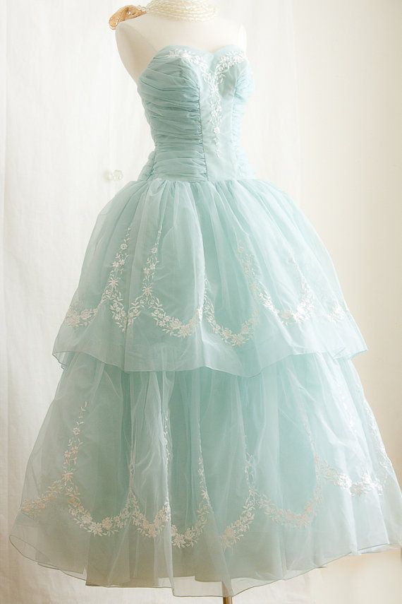 So elegant! 1950s  Prom Dress, in Tiffany Blue - Embroider STRAPLESS Party Dress via Etsy