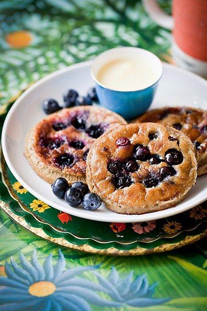 (Coconut flour!!)     Hemsley & Hemsley: Blueberry Pancakes With Cashew Mango Cream (Vogue.com UK)