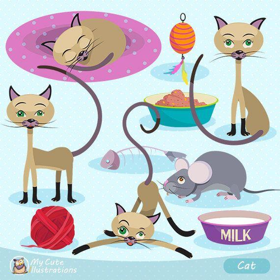 Kitties Digital Clipart Cat Clipart by GraficaStore on Etsy