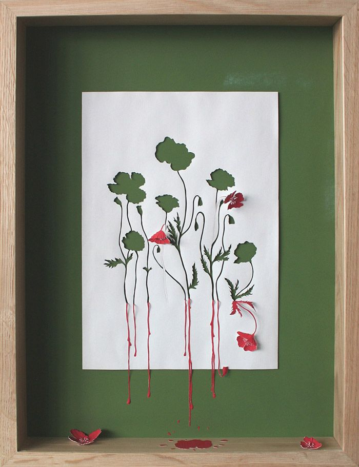 So cool—Red Running Poppies II—love this artist's papercutting style • creativity • ingenuity❣ Peter Callesen