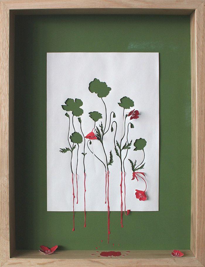 Acid Free A4 80 gsm paper, glue, acrylic paint and oak frame. 53 x 40,5 x 7 cm