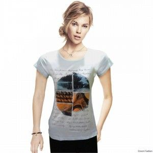 Brighten up your casual wardrobe with this printed T-shirt by Droom Fashion. Style it up with a pair of jeggings or slim fit jeans and heels to look your stylish best. Buy this cool T-shirt.