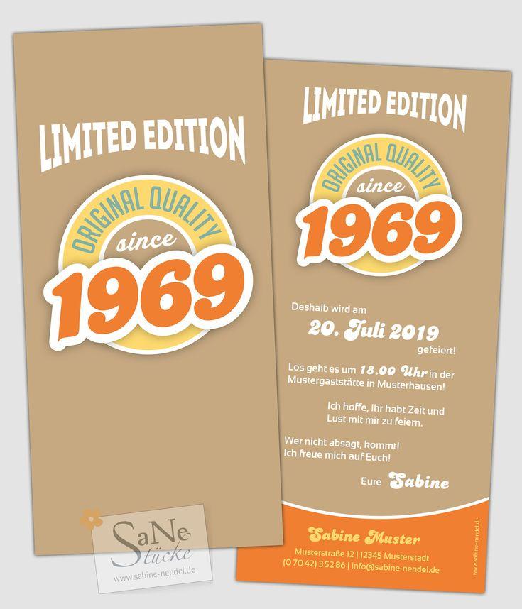 Individuelle Einladungskarten zum 50. Geburtstag, für alle die 1969 geboren wurden, im Retro-Stil in Braun. Auf Wunsch auch mit persönlichem Foto.