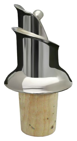 Wine Pourer, Natural Cork (Silver Plate) - Item 1209  This is a quality wine pourer with a natural cork fitting. Stop those annoying wine drips on the table cloth by using this drip free pourer.