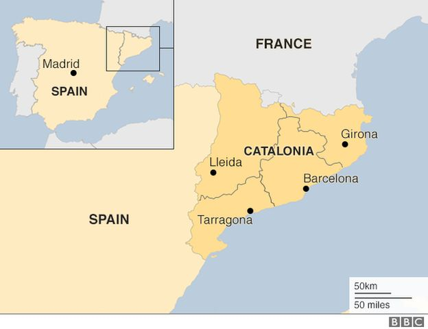 Gov:This is a picture of Catalonia, one of Spain's regions with its own culture/language; population 7.5 million.Catalan leader, Carles Puigdemont wants independence for its people.Over 90% voted for independence.It turned violent when Spanish police began beating people;over 900 injured.Spain declared the vote illegal and removed Carles from power using Article 155 of the Spanish Constitution (allowing Spain to take over any of the 17 regions).Carles and some of his allies recently…