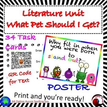 """This is a literature Unit using the Dr Seuss book """"What should I Get for a Pet?"""" Teaching young students to think and make connections as they read. Also to introduce them to critical thinking and making choices skills by """"Would you rather"""" Tasks; these are supported with an image.There is a QR Code for the text.These tasks require students to make connections (Text to Self; Text to Text; Text to World)There are also tasks encouraging Close Reading Skills and higher order thinking."""