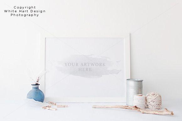 Landscape wall art frame mock up by White Hart Design Studio on Creative Market