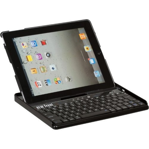 New Trent IMP39B Embassy Keyboard Case for iPad 2, Bluetooth keyboard /w leather finish back cover for Apple iPad 2 3G Tablet, WIFI Model, 16GB, 32GB, 64GB, with three different adjustable angles by New Trent