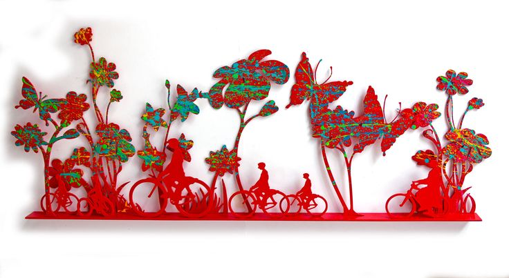 Uri Dushy - Works of Art - Wall Sculptures: Riding in Red Flowers Field
