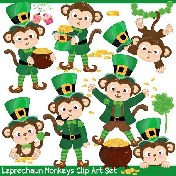 Leprechaun Monkeys Clipart Set