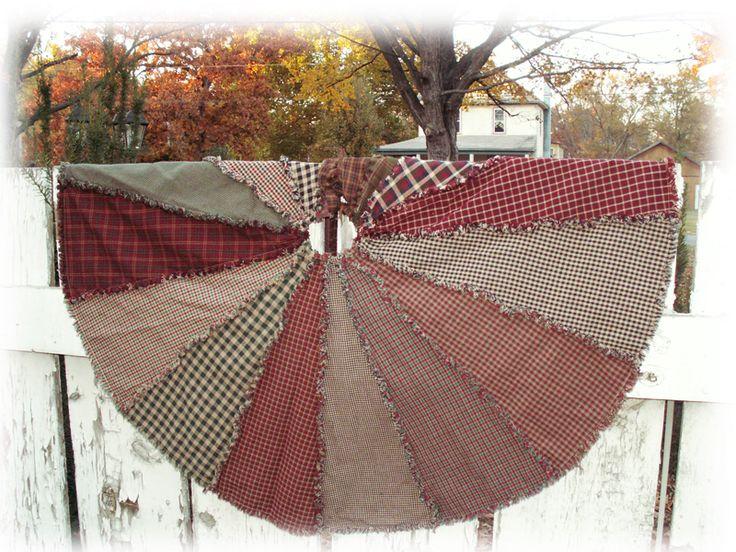 Ragged Homespun Primitive Christmas Tree Skirt Handmade...  who wants to make me one???