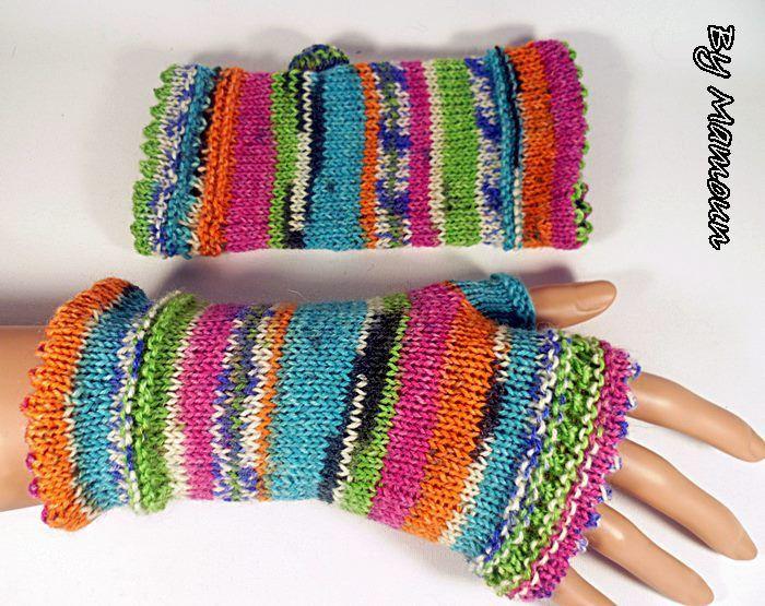 Mitaines femme en laine tricotées main les multicolores funs : Mitaines, gants par mamountricote