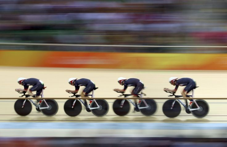 Ed Clancy, Steven Burke, Owain Doull, and Sir Bradley Wiggins: Gold in the men's…
