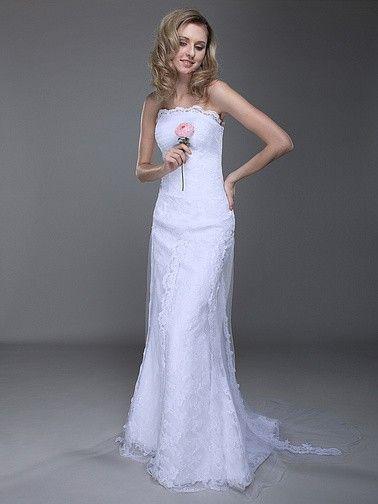 Strapless Lace Column Wedding Dress