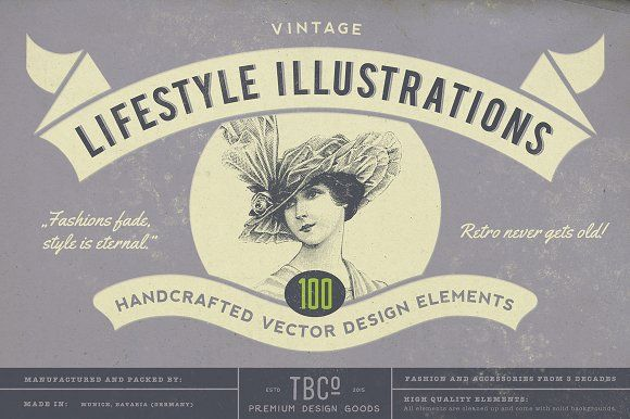 100 Vintage Lifestyle Illustrations by The Beacon Collection on @creativemarket