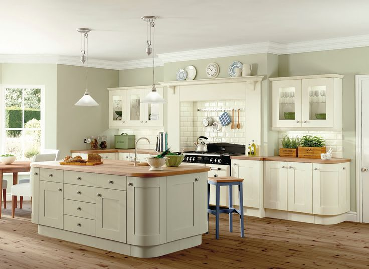 Sage Walls With Mostly Cream Cabinets But Sage Island   Could Look Too Much  In Smaller Kitchen? Hard To Merge With Dining Area Colour Scheme?