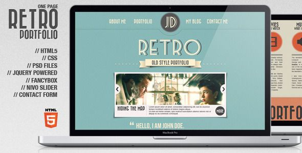 """Retro Portfolio"" is a HTML5 Template with custom graphic elements and animation. It consists on a ""one-page"" portfolio with blog."