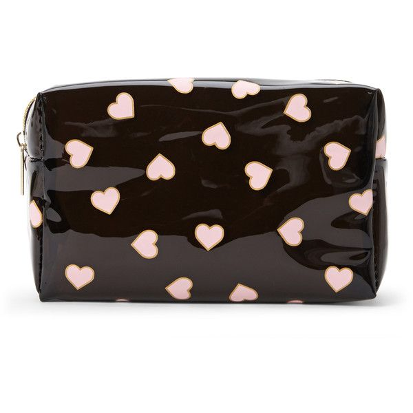 Cul De Sac Black & Pink Heart Cosmetic Case found on Polyvore featuring beauty products, beauty accessories, bags & cases, white, travel kit, travel bag, dop kit, make up purse and cosmetic bag