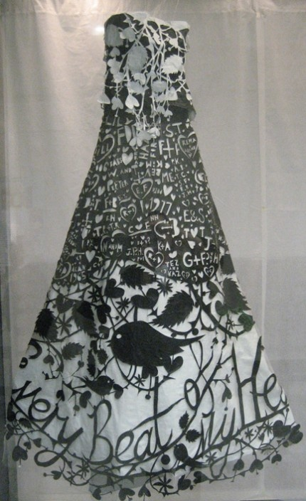 This dress is part of an exhibit in the Atlanta airport of all paper clothes