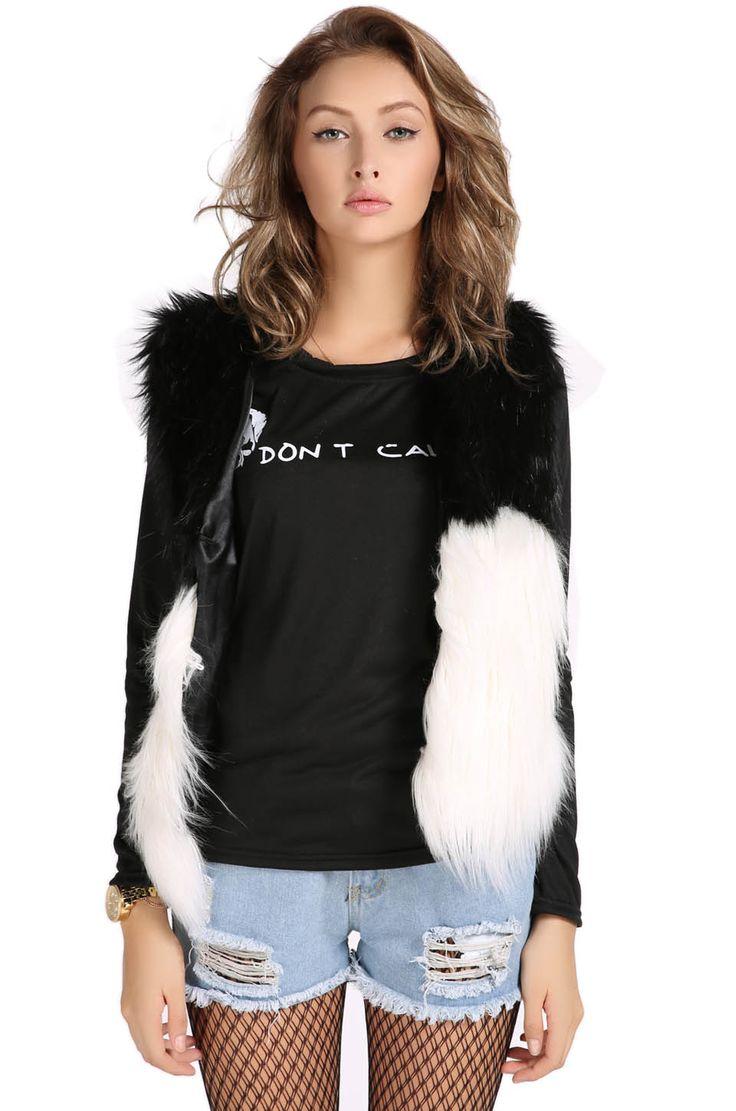 Winter Women Faux Fur Vest Sleeveless Outerwear Jacket Coat Waistcoat_Jackets_Women's Outwear_Women_The Latest Trends & Fashion Clothing For Women Online Store-www.dressin.com