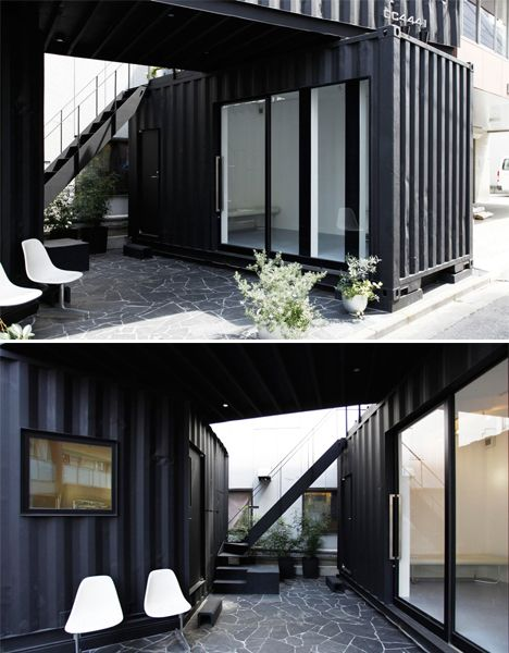 A tiny slice of land on a busy Tokyo street corner has now become the setting for an office and gallery housed inside two matte black shipping containers. Tomokazu Hayawaka Architects split one 40-foot container in two and set the other on top to create an irregular composition that enables three separate spaces as well as a small courtyard filled with plants and seating.  Read more: http://dornob.com/tokyo-stack-two-shipping-containers-create-corner-office/#ixzz33LAdD5e2