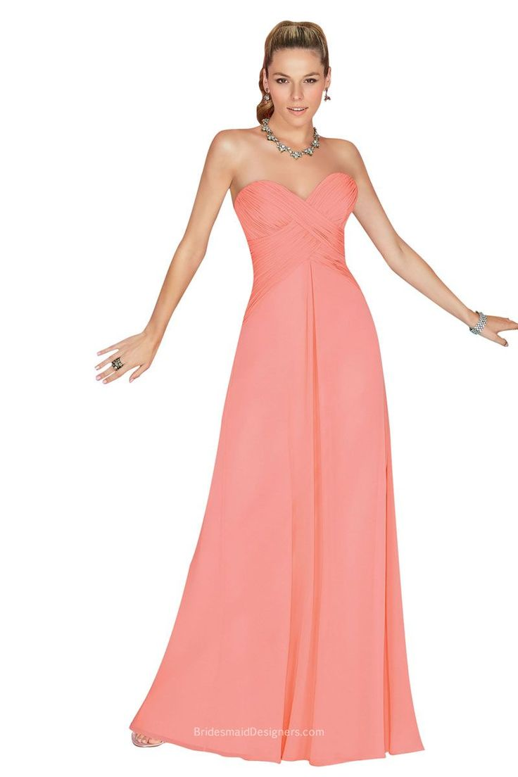 This casual coral bridesmaid dress features crisscrossed ruched detail finishing off sweetheart neckline and empire waist on strapless bodice, giving feminine curve charm. A-line skirt flows elegantly to the floor elongating your silhouette. #longchiffonbridesmaiddresses #longlacebridesmaiddresses #longbridesmaiddresseswithstraps #longbridesmaiddresseswithsleeves