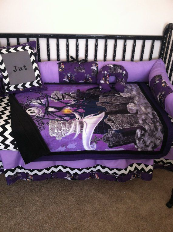 5pc Nightmare Before Christmas Baby Bedding Free Personalized Pillow Baby Bed Baby Bedding Sets Personalized Pillows