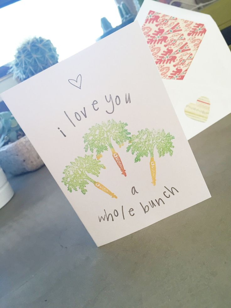 I Love You a Whole Bunch, Love Card, I Love You Card, Blank Card, Carrot Pun, All Occasion Card, Stationary, Blank Card, Friend Card by SweetThymeDesign on Etsy